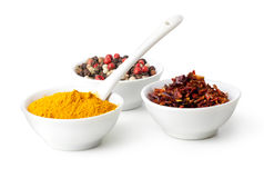 Spices Curry, Peppers Mix and paprika Royalty Free Stock Photo
