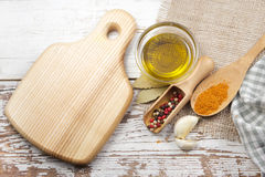 Spices with cutting board Royalty Free Stock Photography