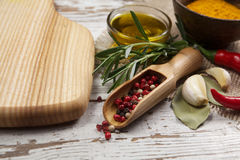Spices with cutting board Stock Photo
