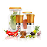 Spices 3D Composition. With bay leaves in glass jar pepper mill nutmeg on white background vector illustration Stock Images