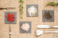 Spices on dark plates with rosemary, antique forks, spoon and kn Stock Image