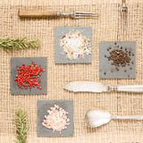 Spices on dark plates with rosemary, antique forks, spoon and kn Stock Photography