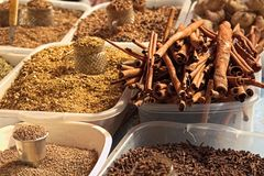 Spices at display at a marketplace in Brazil stock photos