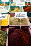 Spices on display in open market in Israel. Royalty Free Stock Photos