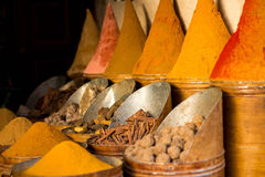Spices displayed in a market in Fez, Morroco Stock Photos