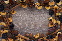 Spices and dried fruits Stock Photography