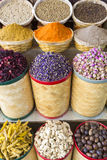 Spices and dried fruits at the market souk in Dubai. UAE Stock Photos