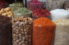 Spices and dry fruits in local bazar Stock Images