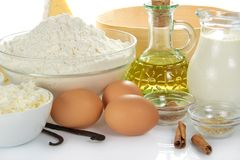Spices, eggs, cottage cheese, flour, oil Royalty Free Stock Photo