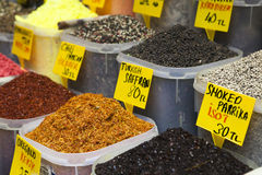 Spices on an Egyptian market of Istanbul, Royalty Free Stock Images