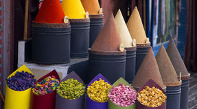 Spices and flower shop in Fez, Morocco royalty free stock photography