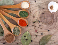 Spices Food Preparation on table Food ingredients Royalty Free Stock Images