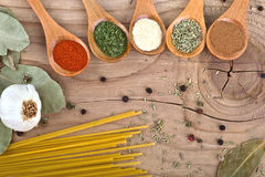 Spices Food Preparation on Wooden table Food ingredients Royalty Free Stock Photo