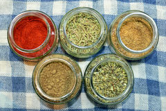 Spices for food. Seen from above Royalty Free Stock Image