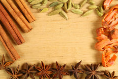 Spices frame. Frame of whole spices - especially for desserts Stock Photo