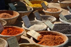 Spices on a french market. Oriental spices on a french market in the provence royalty free stock photo