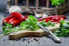 Spices and fresh herbs on cutting board Royalty Free Stock Image