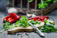 Spices and fresh herbs on cutting board Stock Image