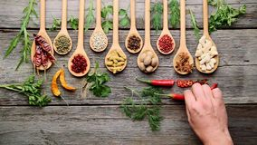 Spices and fresh herbs on a wooden table stock video footage
