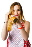 Spices girl with salt and pepper shaker Royalty Free Stock Photo