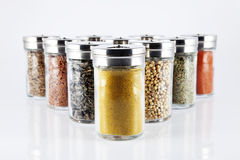 Spices in glass bottles Royalty Free Stock Photo