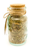 Spices in glass bottles Royalty Free Stock Photos