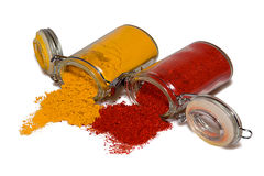 Spices in glass containers Stock Photo