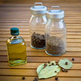 Spices in glass dish Royalty Free Stock Image