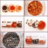 Spices in Glass Jars Collage. Collage of photos of glass jars filled with spices isolated on white background Stock Photography