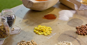 Spices and grains on the table Stock Photo