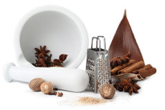 Spices, grater and mortar Royalty Free Stock Photo