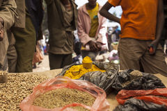 Spices and green coffee beans, Ethiopia. Spices and green coffee for sale at market in Ethiopia Stock Photo