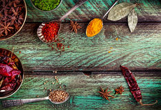 Spices at the green table Royalty Free Stock Image