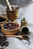 Spices and grinder. Colorful spices and grinder still life Stock Photo
