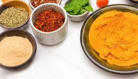 Spices for heath and cooking on white background. Stock Image
