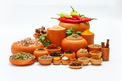 Spices and herb for cooking background and design,Top view spics Royalty Free Stock Photo