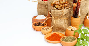 Spices and herb for cooking background and design,Top view spics Stock Photos
