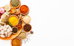 Spices and herb for cooking background and design,Top view spics Royalty Free Stock Images