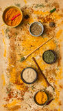 Spices for herb and cooking on brown background. Stock Image