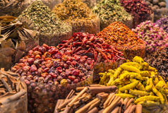Spices and herbs being sold on Morocco traditional market. Stock Photography