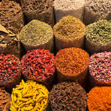 Spices and herbs being sold on Morocco traditional market. Royalty Free Stock Photo