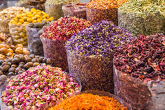 Spices and herbs being sold on Morocco traditional market. Stock Image