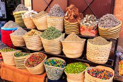 Spices and herbs being sold on street stal at Morocco market Royalty Free Stock Images