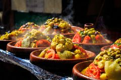 Spices and herbs being sold on street stal at Morocco market Royalty Free Stock Image