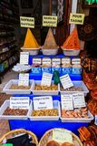 Spices and herbs being sold on street stal at Morocco market Royalty Free Stock Photography