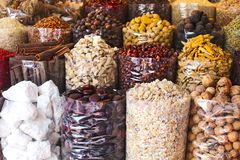Spices and herbs being sold on street stall at arab traditional Royalty Free Stock Photo