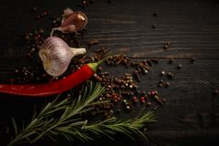 Spices and herbs on the black wood background. royalty free stock photo