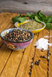 Spices and herbs in  bowls Royalty Free Stock Photo