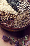 Spices and herbs in ceramic bowl. seasoning. Colorful natural ad Royalty Free Stock Photos