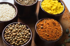 Spices and herbs in ceramic bowls. seasoning. Colorful natural a Stock Photography